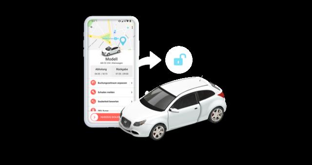 Über eine Smartphone-App entriegeld der Nutzer das Auto. Credit: MOQO