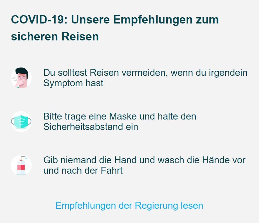 Diese Hygieneempfehlungen blendet BlaBlaBus aktuell in der App ein. Credit: Screenshot/BlaBlaBus