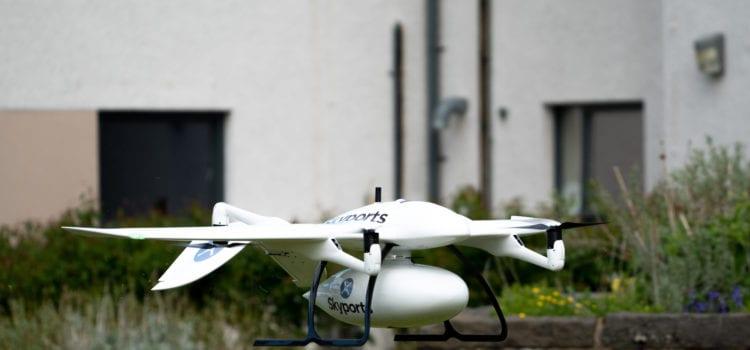 """Eine Drohne von Wingcopter startet zur """"Mission Corona"""". Credit: Wingcopter"""